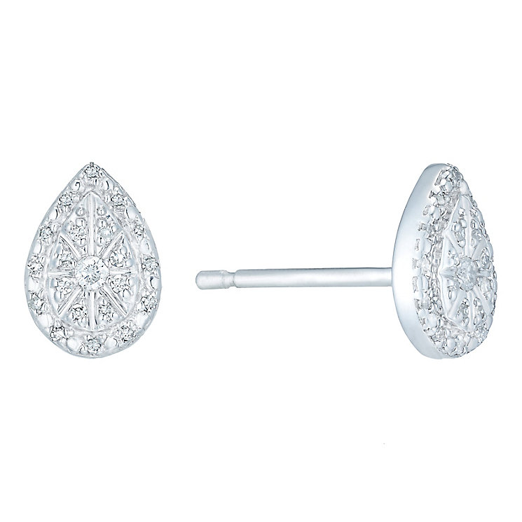 Sterling Silver Diamond Set Teardrop Stud Earrings - Product number 4761103