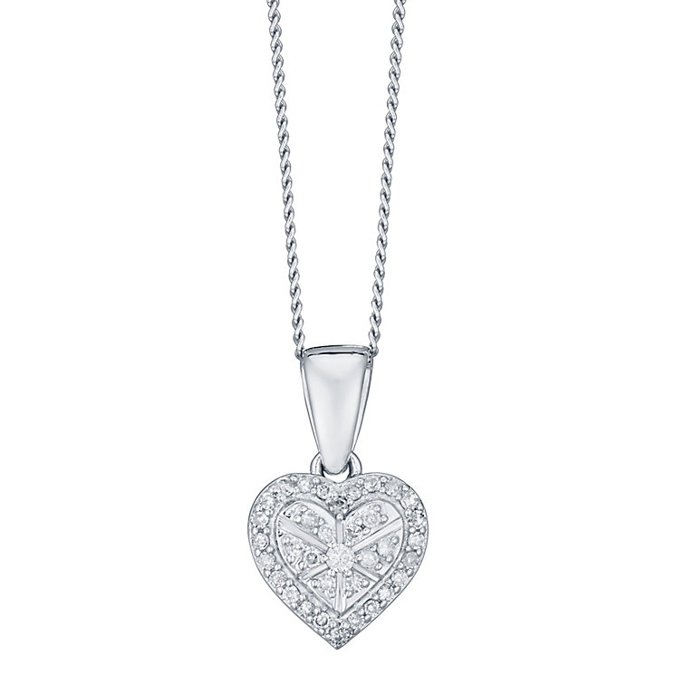 Sterling Silver 0.10 Carat Diamond Set Heart Pendant - Product number 4761111