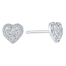 Sterling Silver 0.12 Carat Diamond Set Heart Stud Earrings - Product number 4761146