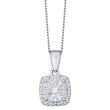 Sterling Silver 0.15 Carat Diamond Set Square Pendant - Product number 4761154
