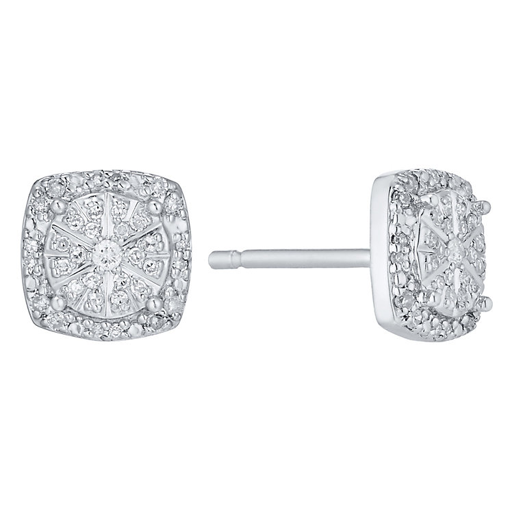 Sterling Silver 0.15 Carat Diamond Square Stud Earrings - Product number 4761162