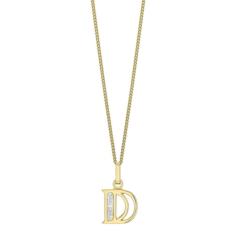 9ct Gold Diamond Set Initial D Pendant - Product number 4761170