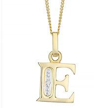 9ct Gold Diamond Set Initial E Pendant - Product number 4761197