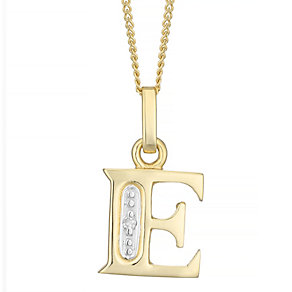 9ct Gold Diamond Set Initial E Pendant - Product number 4761197