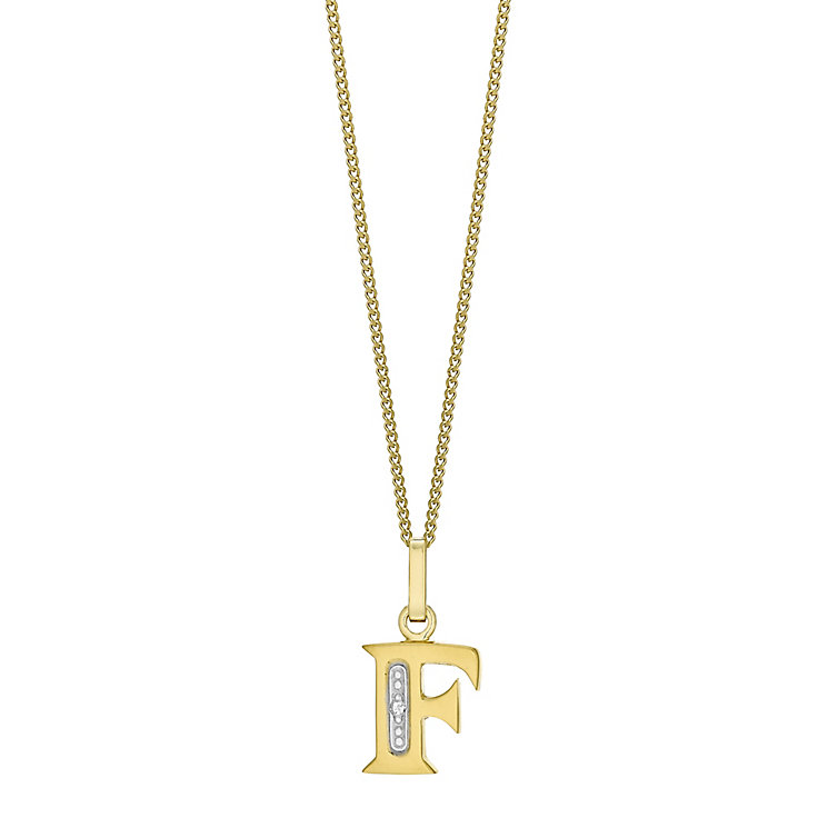 9ct Gold Diamond Set Initial F Pendant - Product number 4761200