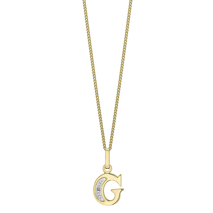 9ct Gold Diamond Set Initial G Pendant - Product number 4761219