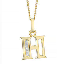 9ct Gold Diamond Set Initial H Pendant - Product number 4761235