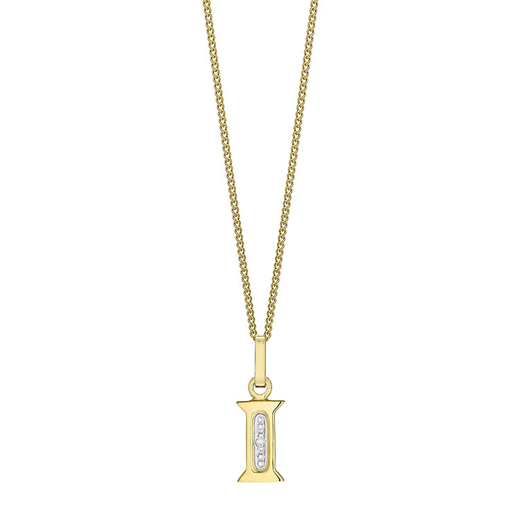 9ct Gold Diamond Set Initial I Pendant - Product number 4761243