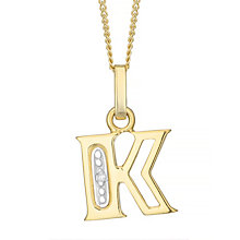 9ct Gold Diamond Set Initial K Pendant - Product number 4761278