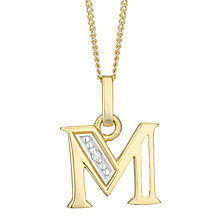 9ct Gold Diamond Set Initial M Pendant - Product number 4761294