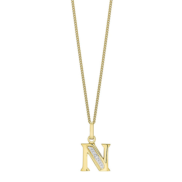 9ct Gold Diamond Set Initial N Pendant - Product number 4761308