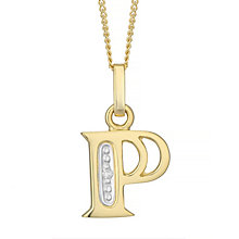 9ct Gold Diamond Set Initial P Pendant - Product number 4761324