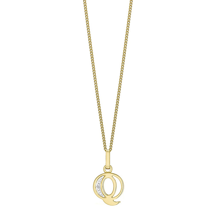 9ct Gold Diamond Set Initial Q Pendant - Product number 4761332