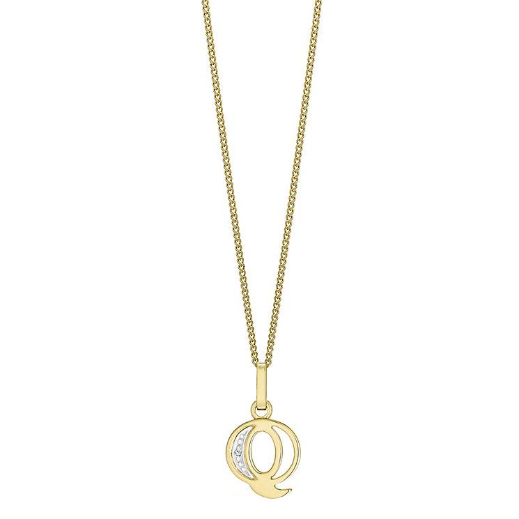 9ct Gold Diamond Set Initial Q Pendant - Product number 4761332