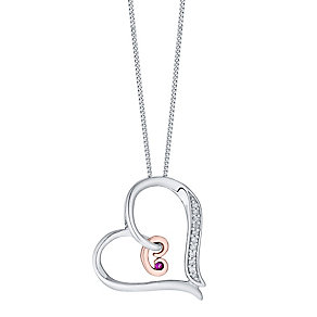 Silver & 9ct Rose Gold Diamond Set Initial C Pendant - Product number 4761340