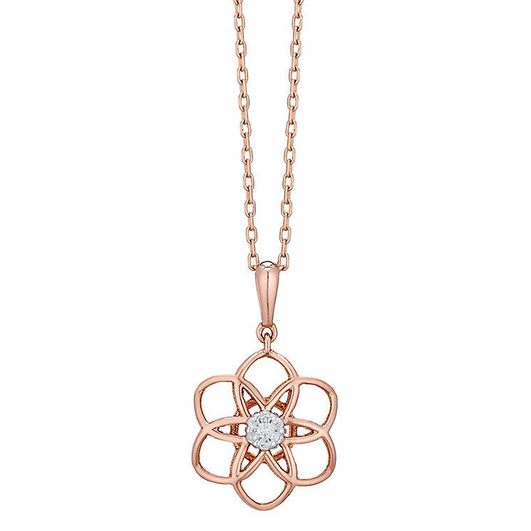 9ct Rose Gold Diamond Set 3D Flower Pendant - Product number 4761367