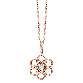 9ct Rose Gold Diamond Set 3D Flower Pendant - Product number 4761367