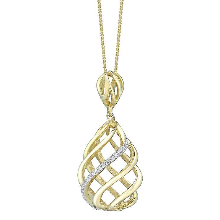 9ct Gold Diamond Set 3D Swirl Pendant - Product number 4761375