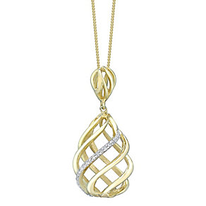 9ct Gold Diamond Set 3D Swirl Pendant - Product number 4761375