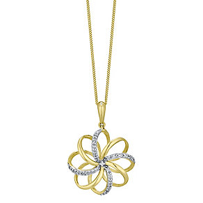 9ct Gold Diamond Set 3D Flower Pendant - Product number 4761383