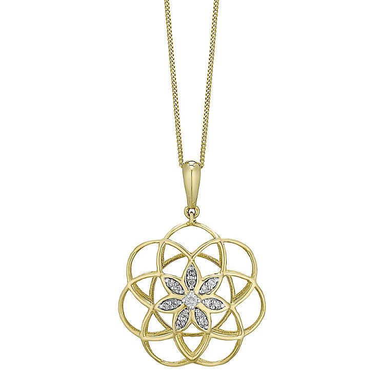 9ct Gold Diamond Set 3D Flower Pendant - Product number 4761405