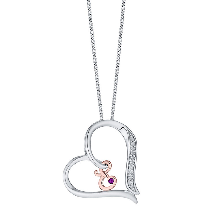 Silver & 9ct Rose Gold Diamond Set Initial E Pendant - Product number 4761413