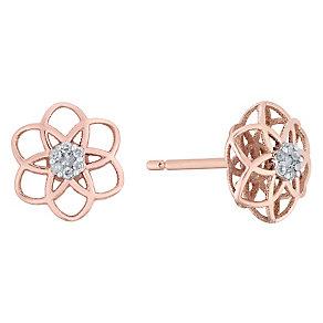 9ct Rose Gold Diamond Set 3D Flower Stud Earrings - Product number 4761421