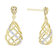 9ct Gold Diamond Set Pear Shaped Drop Earrings - Product number 4761448