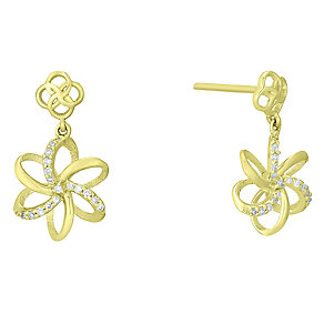 9ct Yellow Gold Diamond Set Flower Drop Earrings - Product number 4761456