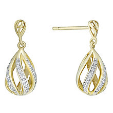 9ct Gold Diamond Set Pear Shaped Drop Earrings - Product number 4761464
