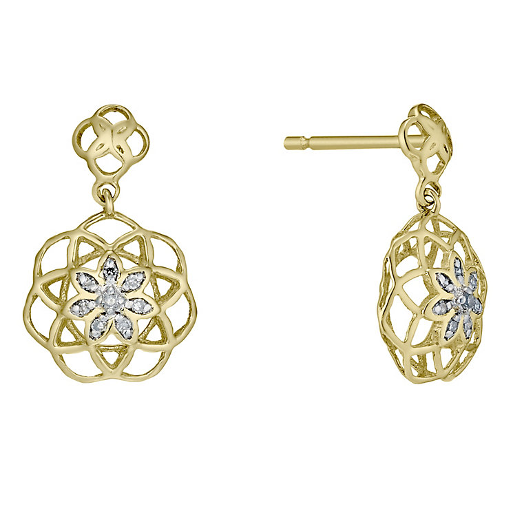 9ct Gold Diamond Set Flower Drop Earrings - Product number 4761472