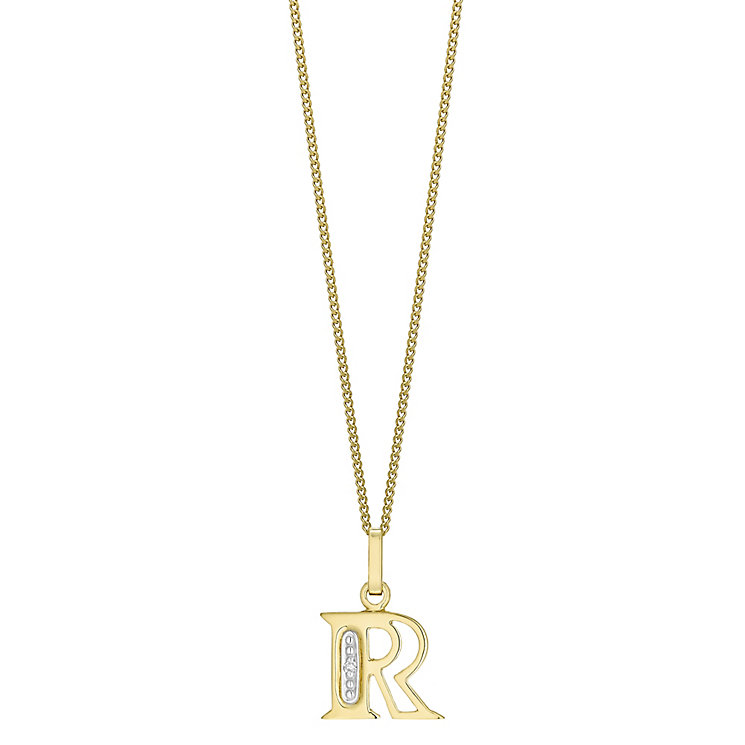 9ct Gold Diamond Set Initial R Pendant - Product number 4761499