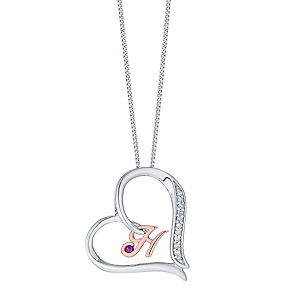Silver & 9ct Rose Gold Diamond Set Initial H Pendant - Product number 4761510