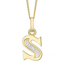 9ct Gold Diamond Set Initial S Pendant - Product number 4761537