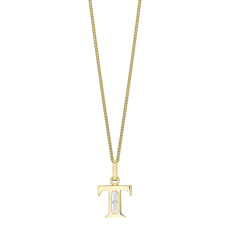 9ct Gold Diamond Set Initial T Pendant - Product number 4761545