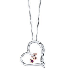 Silver & 9ct Rose Gold Diamond Set Initial J Pendant - Product number 4761553
