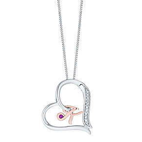 Silver & 9ct Rose Gold Diamond Set Initial K Pendant - Product number 4761561
