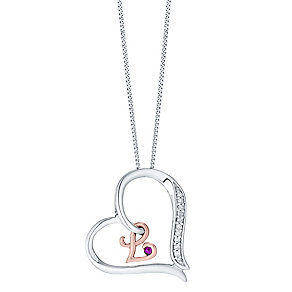 Silver & 9ct Rose Gold Diamond Set Initial L Pendant - Product number 4761588