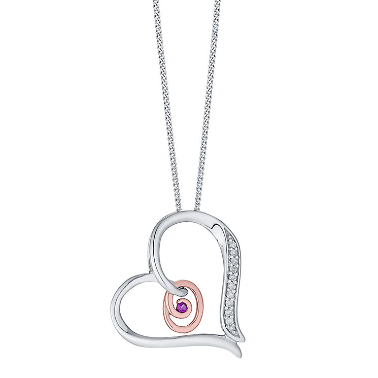 Silver & 9ct Rose Gold Diamond Set Initial O Pendant - Product number 4761626