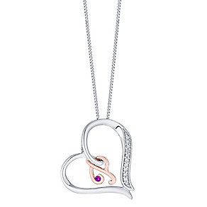 Silver & 9ct Rose Gold Diamond Set Initial P Pendant - Product number 4761634