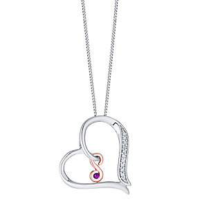 Silver & 9ct Rose Gold Diamond Set Initial S Pendant - Product number 4761669