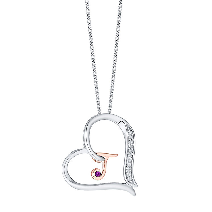 Silver & 9ct Rose Gold Diamond Set Initial T Pendant - Product number 4761677