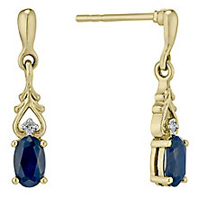 9ct Gold Sapphire & Diamond Drop Earrings - Product number 4761707