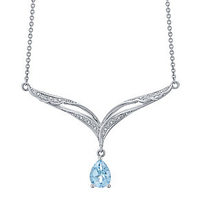 Sterling Silver Pear Shape Blue Topaz & Diamond Necklet - Product number 4761731