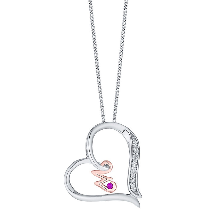 Silver & 9ct Rose Gold Diamond Set Initial W Pendant - Product number 4761758