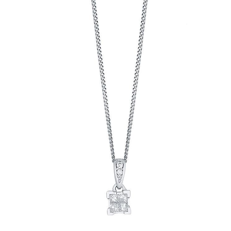 Perfect Fit 9ct White Gold Princess Cut Diamond Pendant - Product number 4761782