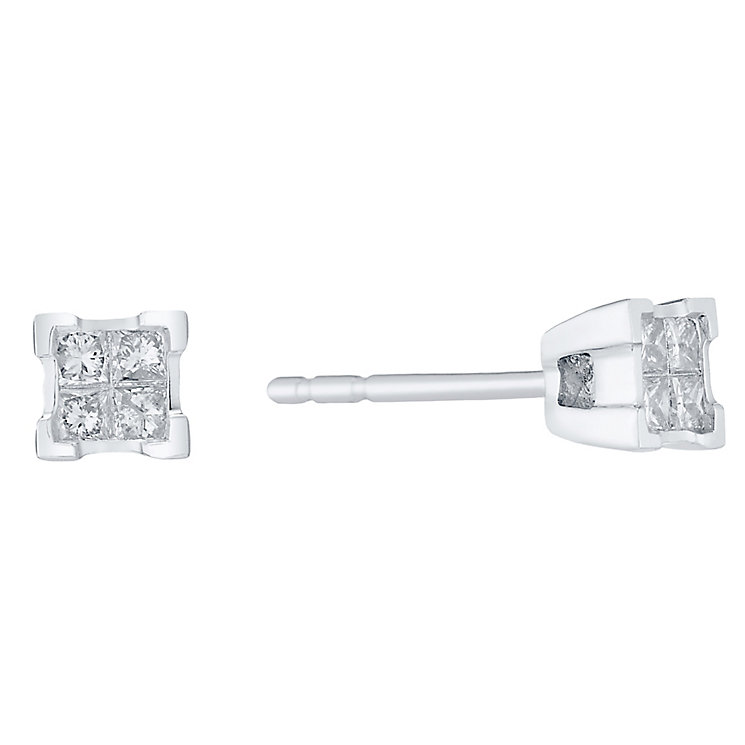 Perfect Fit 9ct White Gold 0.17ct Diamond Cluster Studs - Product number 4761790
