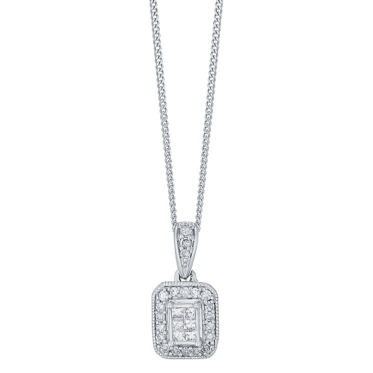 Perfect Fit 9ct White Gold 0.13ct Vintage Style Pendant - Product number 4761804