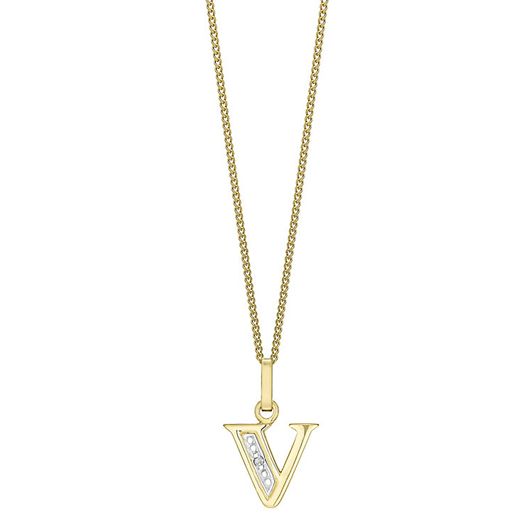 9ct Gold Diamond Set Initial V Pendant - Product number 4761812