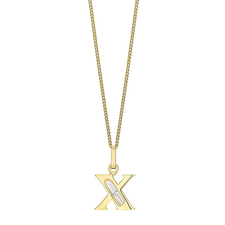 9ct Gold Diamond Set Initial X Pendant - Product number 4761839